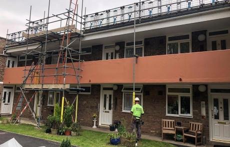 Residential Scaffolding Portfolio - Roof Work above Shop
