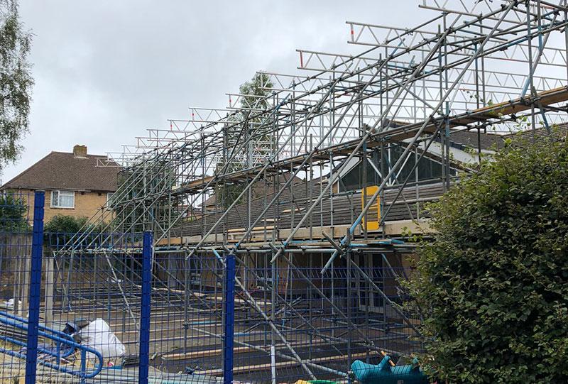 Heathlands Academy Temporary Roof - Portfolio High-Tek Scaffolding Ltd